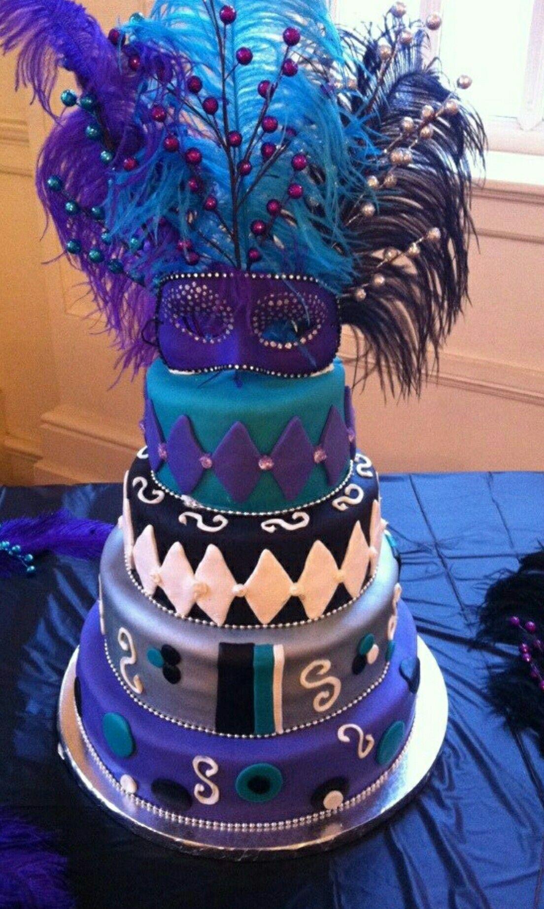 Mardi Gras Masquerade Birthday Cake Mardi Gras 60th Birthday Party