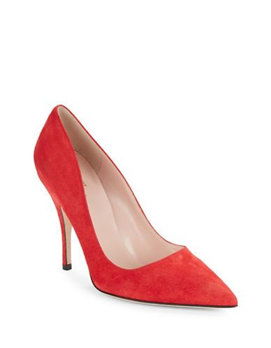Kate Spade New York Licorice Suede Pumps Women's Poppy Red 5.5
