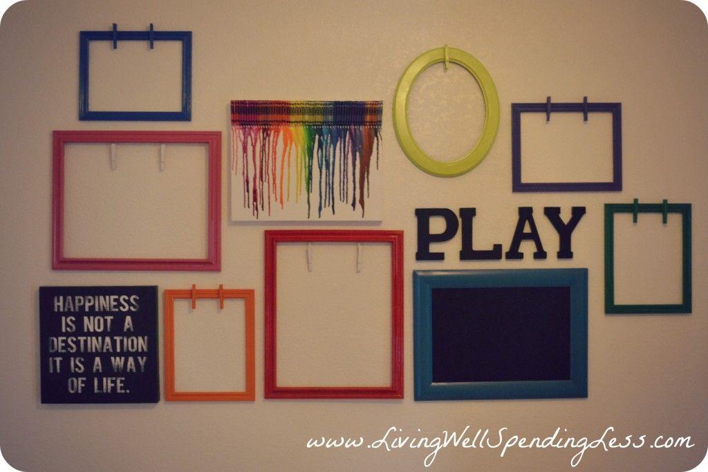 DIY Kids Artwork Display   Decoración con marcos, Colgar cuadros y ...