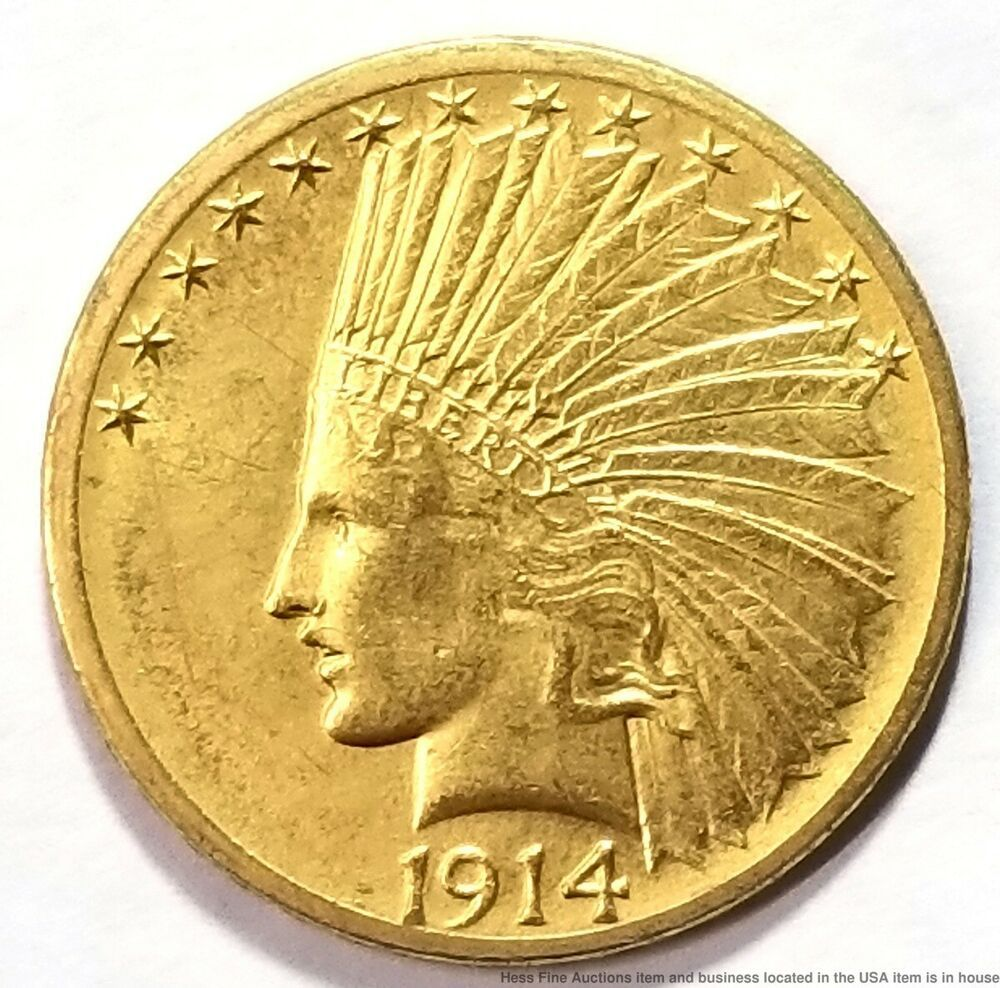 1914 D Indian Head Eagle 10 Gold Ten Dollar Usa Coin American Dollar Usa Coins Gold Eagle Coins
