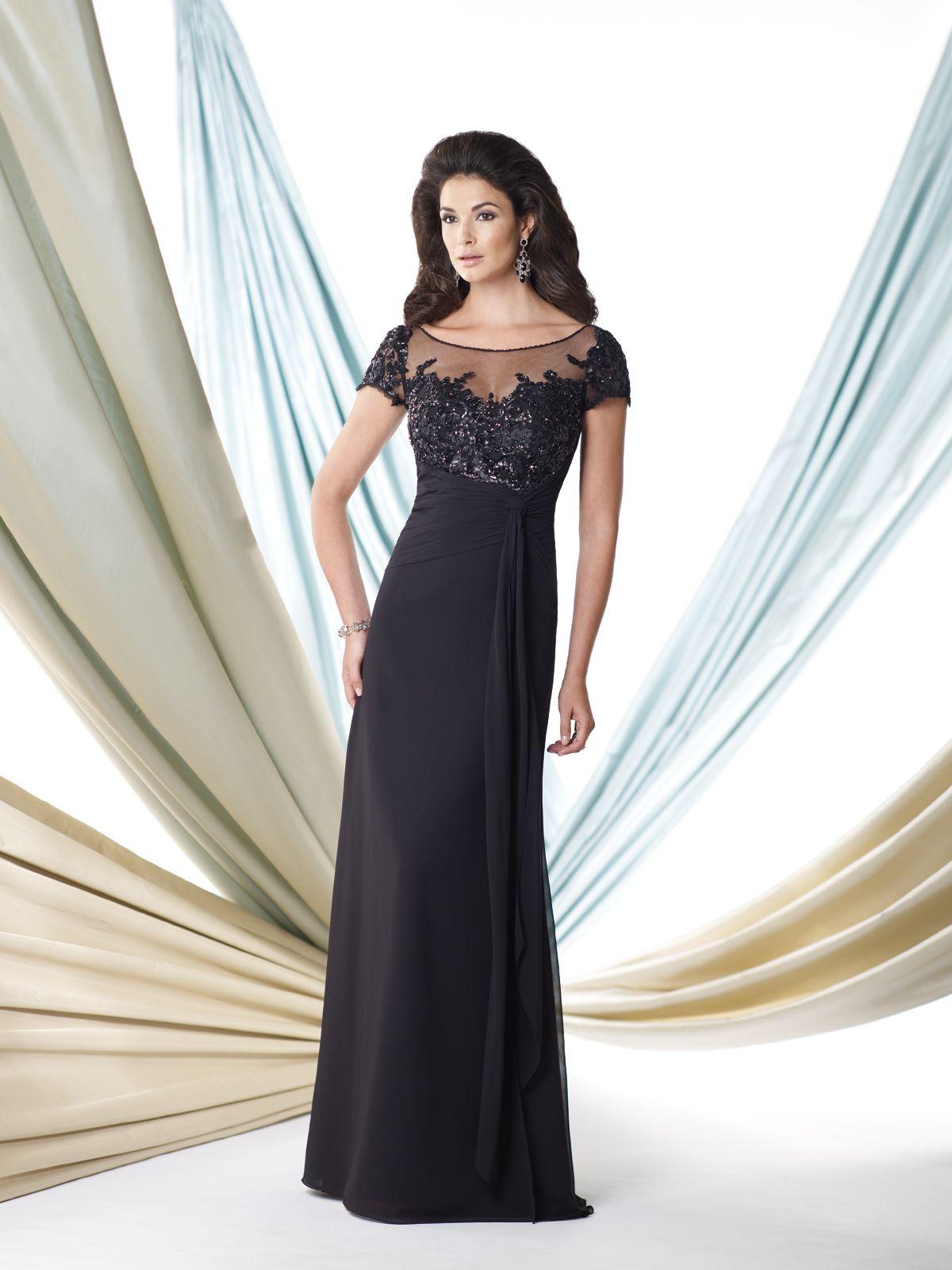 Sheath Illusion Neckline Black Chiffon Beaded Mother Of The Bride Evening Dress Short Sleeve