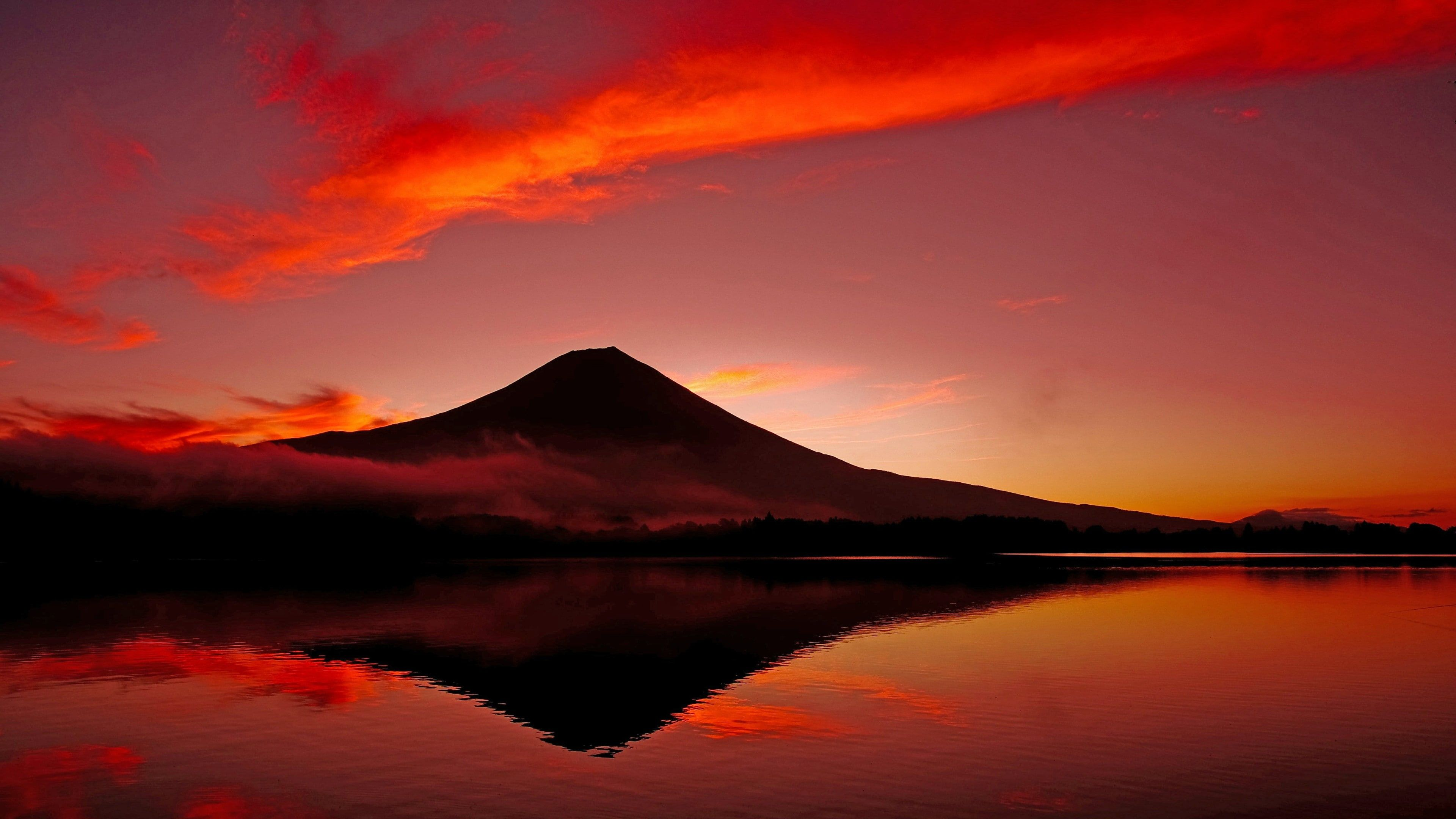 Loch Asia Lake Tanuki Fujinomiya Sizuoka Calm Fuji Dusk Mount Fuji Honshu Horizon Red Sky Sunset Lake Twilight Refle Mount Fuji Waterscape Red Sky Hd wallpaper sunset sky red bridge