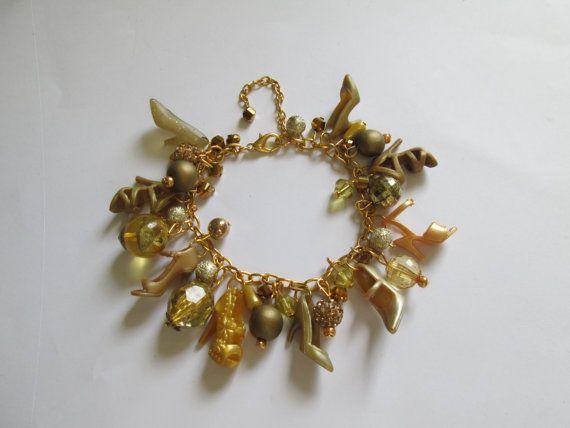 Barbie Shoe  Bracelet / Gold on  Gold   / ITEM 3598