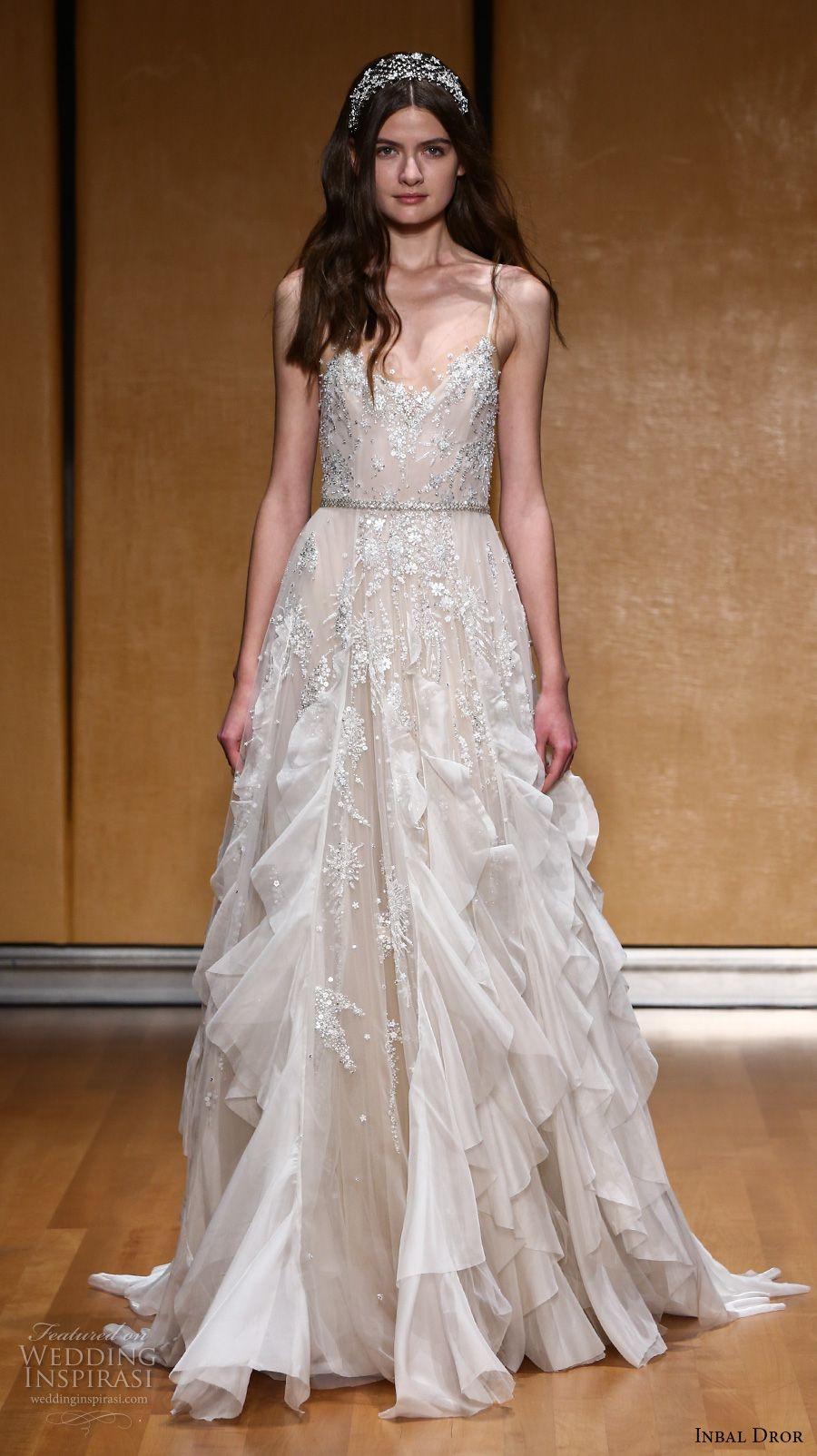 inbal dror 2017 bridal sleeveless spagetti strap v neck full embellishment elegant princess modified a  line wedding dress (014) mv