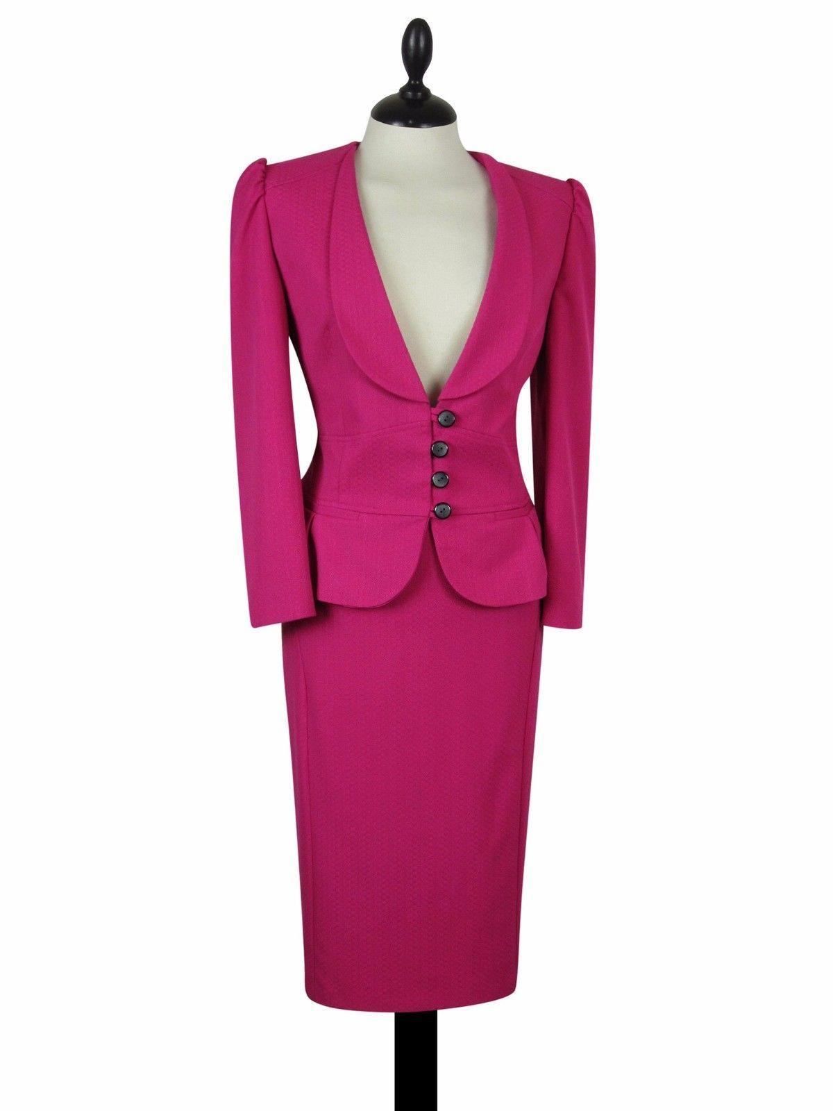 Next pencil skirt suit pink size uk10/8 us6/4 women ladies 50s ...