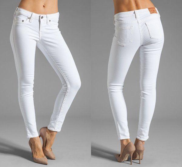 How to Wear White Skinny Jeans Like Eva Longoria #white #denim #truereligion