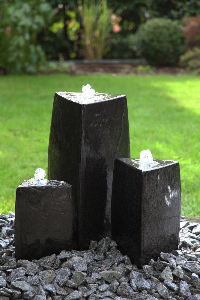 AuBergewohnlich Wasserspiel 3er Set Säulen Triple Triangle Schwarz 40/25/20 Cm  Springbrunnen |
