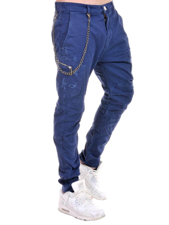b71a9285cec STEFAN Ανδρικό μαύρο skinny fit παντελόνι βράκα, αλυσίδα | Ανδρικά ...