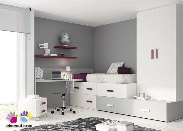 Habitaci n juvenil cama bloc de cajones apilables for Habitacion juvenil cama alta