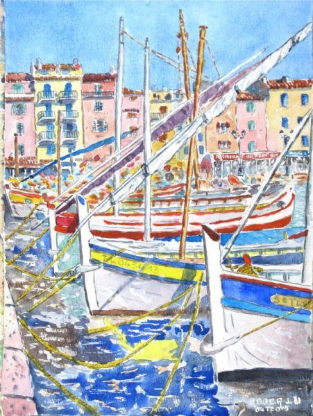 Tableau Peinture Marine Port Bat Marine Aquarelle Sanary Sur