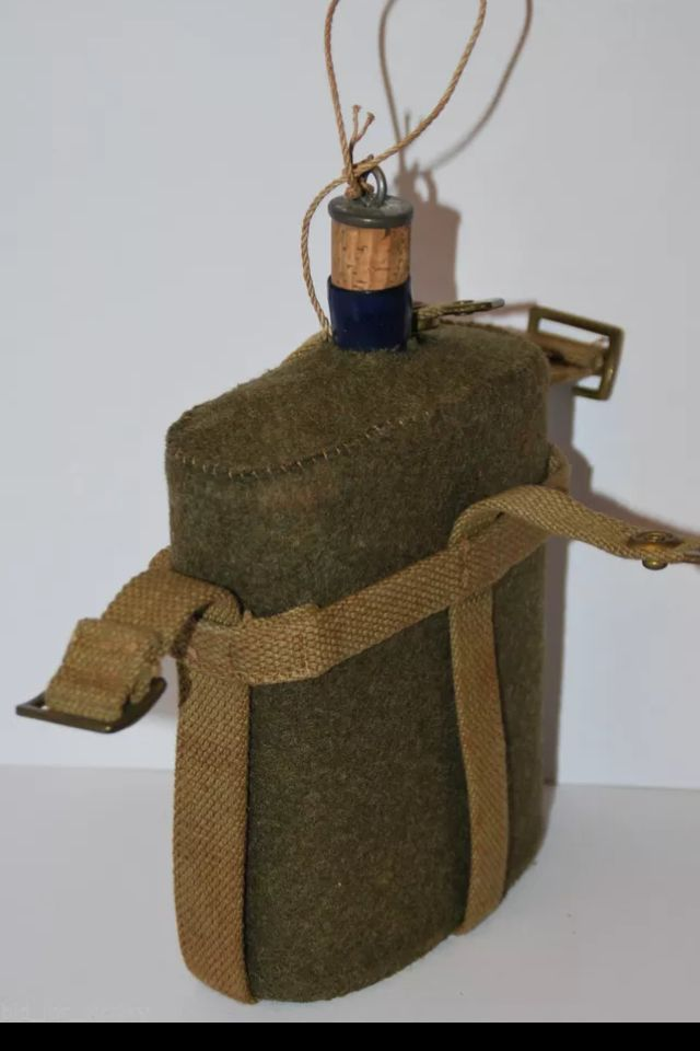 WWII British army canteen, wool felt insulating cover, skeleton