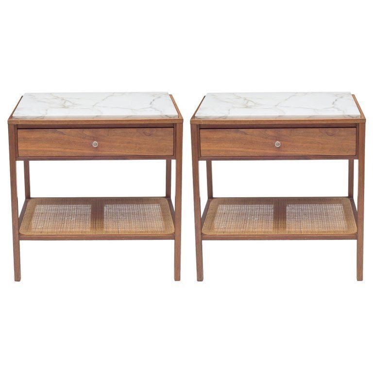 Harvey Probber Marble-Top and Cane End Tables or Nightstands with
