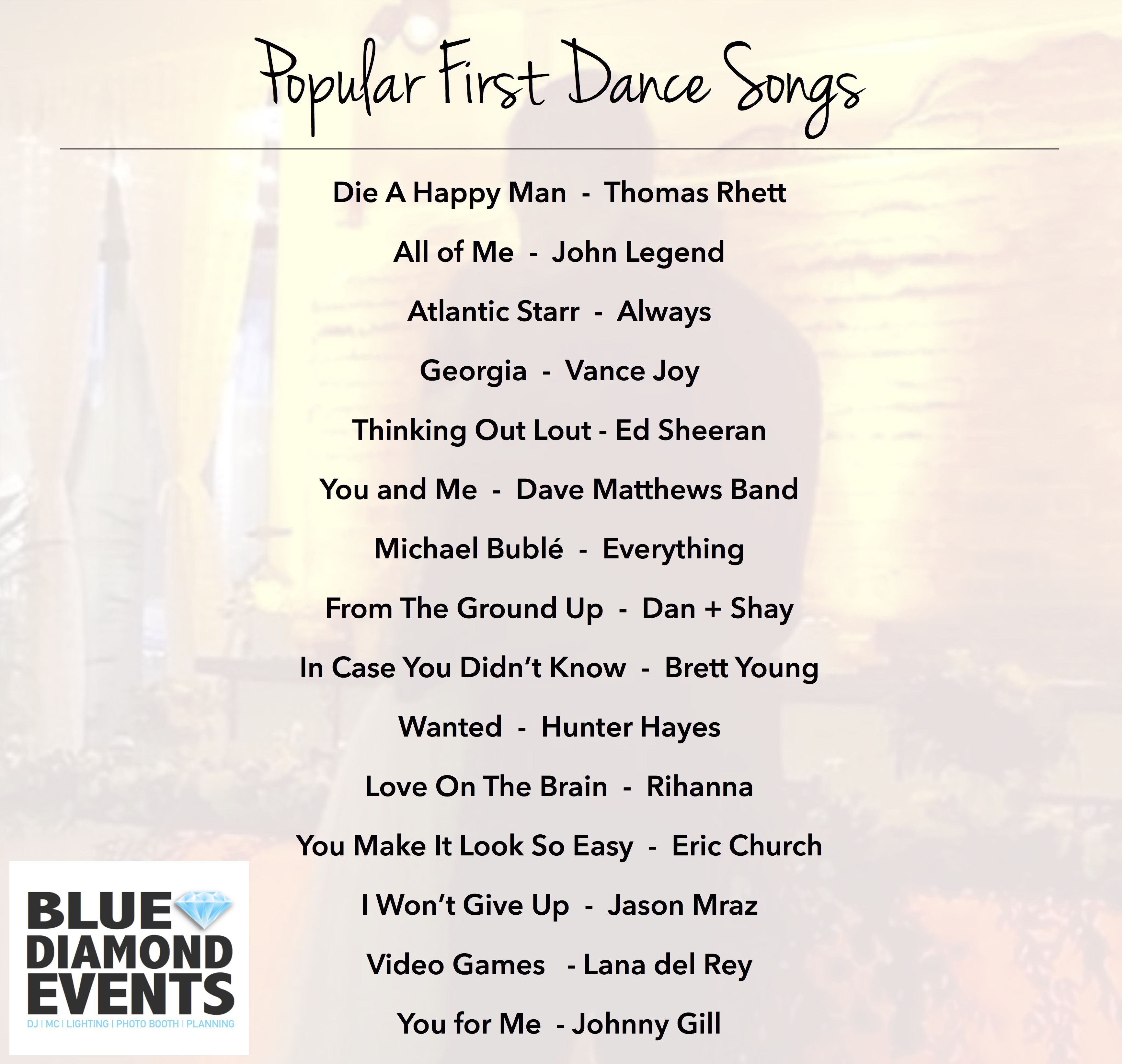 Popular First Dance Songs