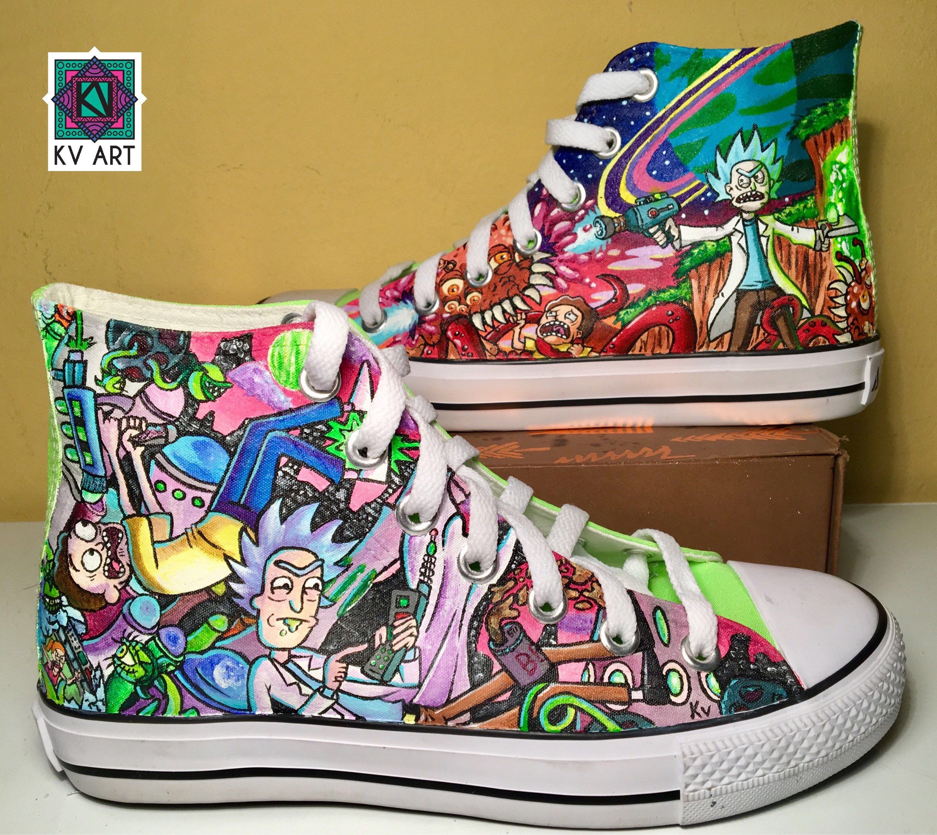 148d7164d582 Custom hand painted shoes Rick and Morty cartoon shoes custom vans and  converse de bykv en