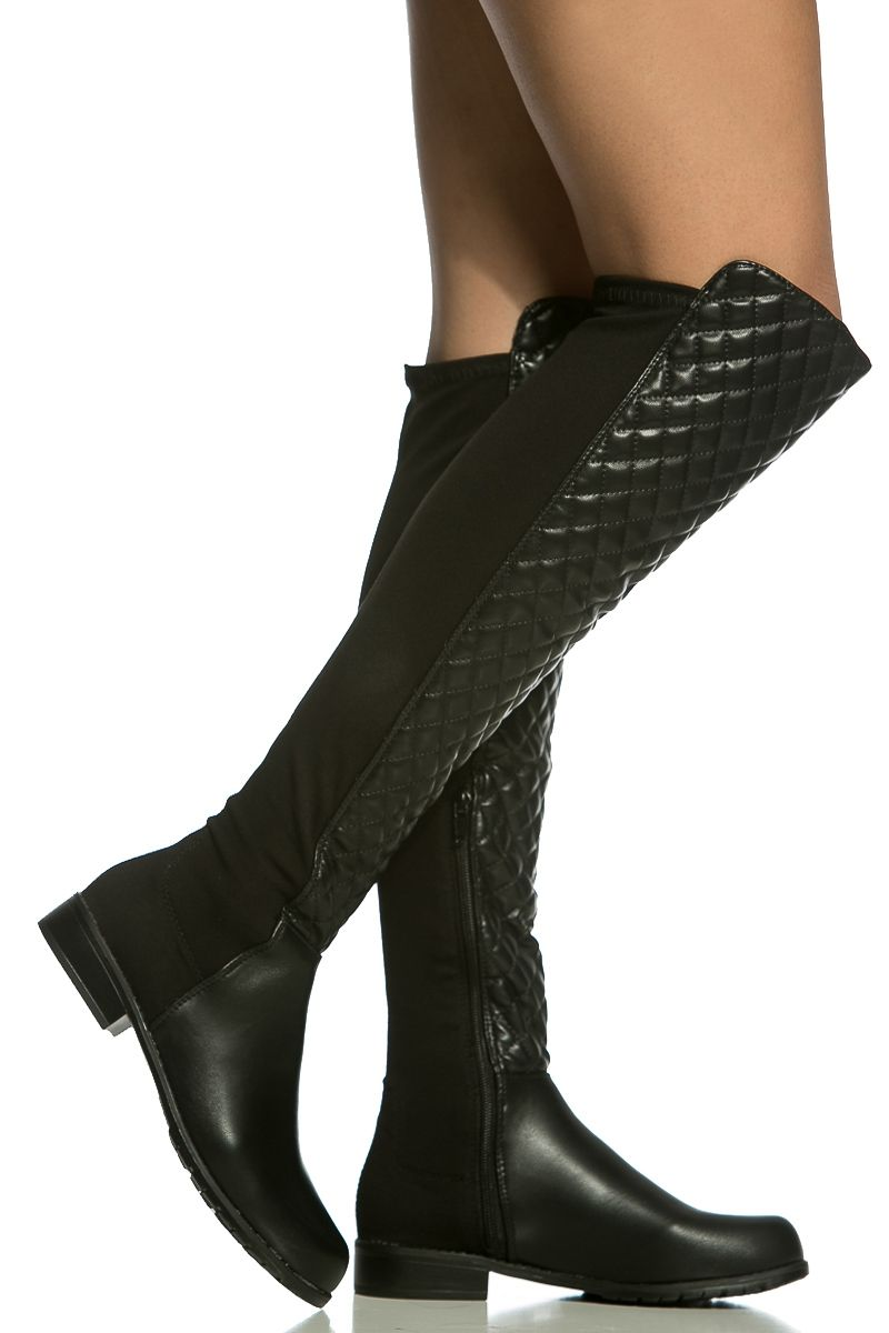 185c9972951 Black Faux Leather Quilted Knee High Boots   Cicihot Boots Catalog women s  winter boots