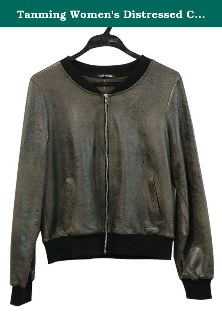 7894b87672d Tanming Women s Distressed Collarless Faux Leather Jacket (Large