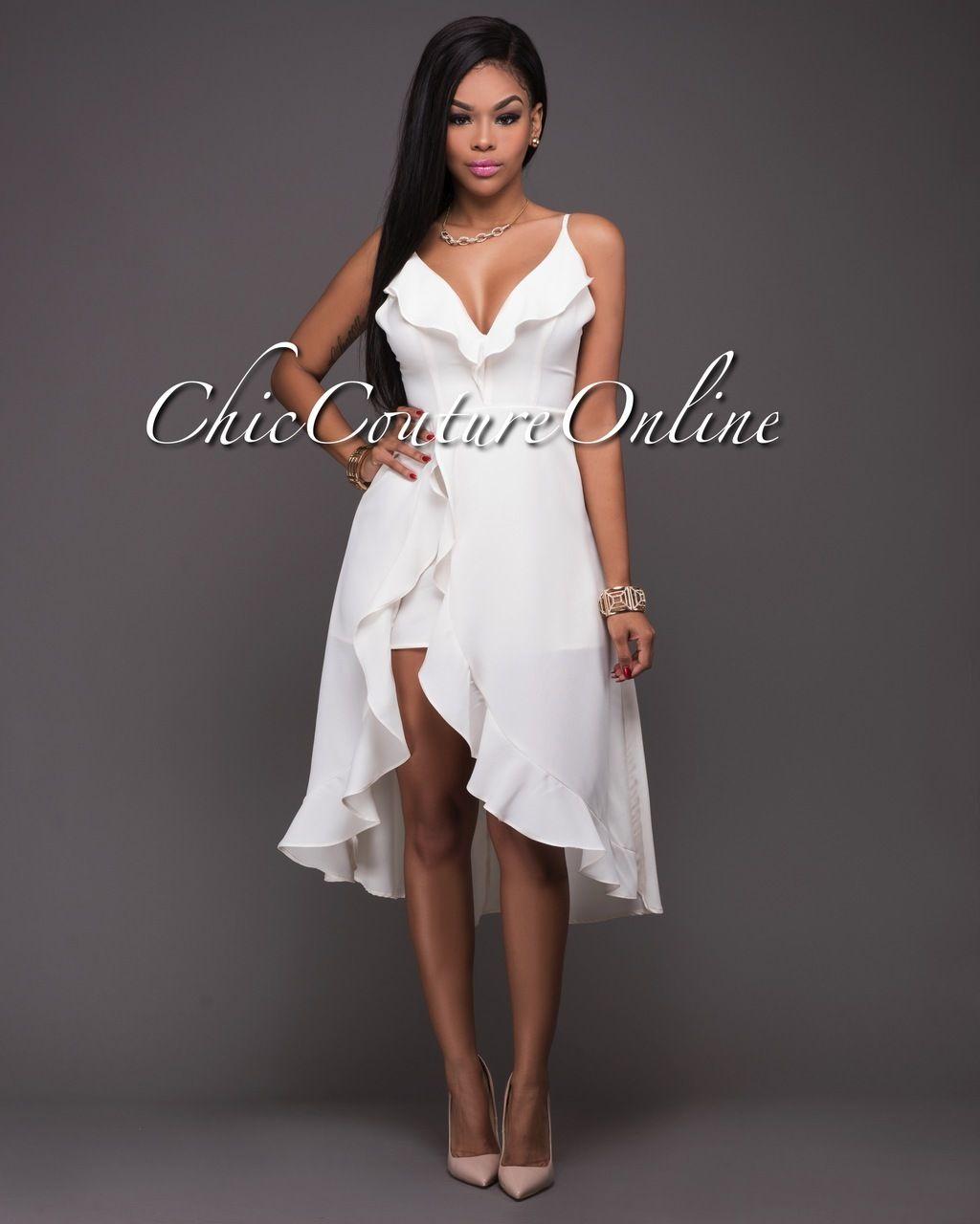 Ella Ivory Ruffle High-Low Romper Dress