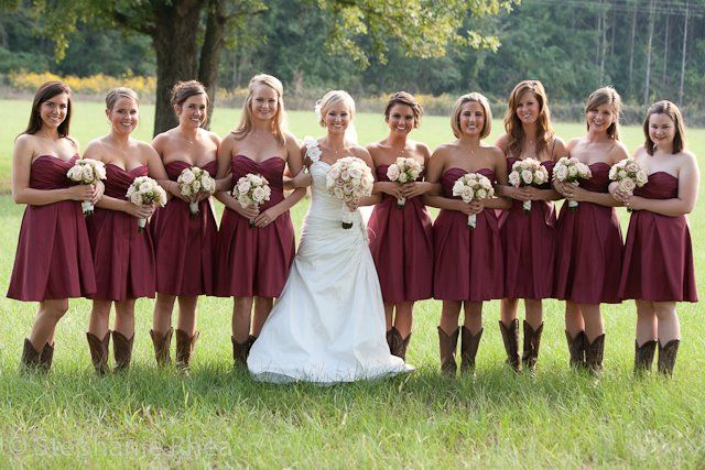 Crimson Bridesmaid Dresses with Cowboy Boots