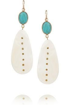 Ashley Pittman Mtango gold-tone, horn and turquoise earrings