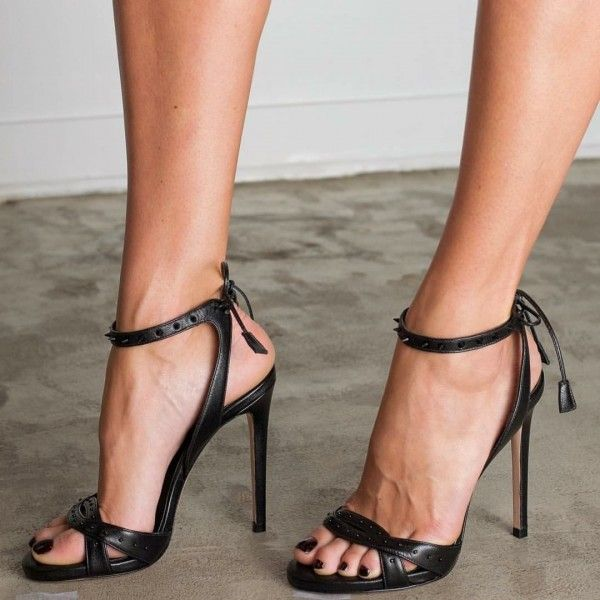 Black Rivets Back Lace up Slingback Heels Stilettos Office Sandals for Party, Date, Big day, Going out | FSJ