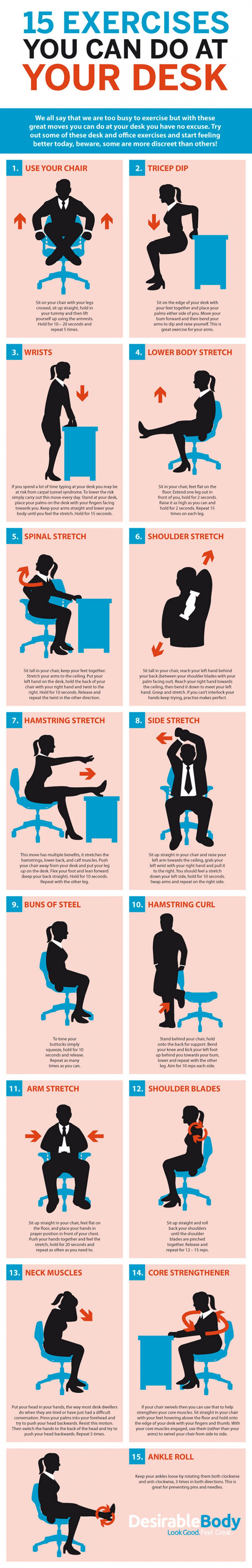 Here Are Some Simple Exercises You Can Do At Your Desk No Need For Expensive Gym Equipment Exercise W Exercise While Sitting Scoliosis Exercises Exercise