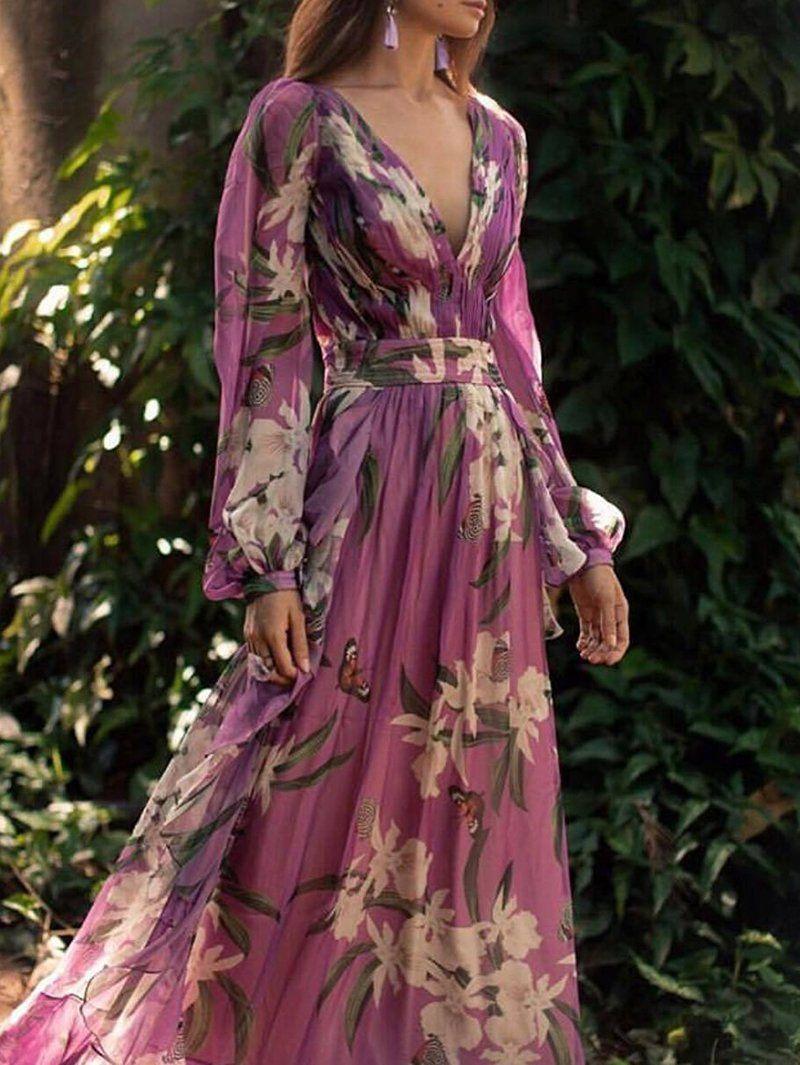 Bohemian Printed Colour V Neck Long Sleeve Pleated Dress Maxi Dress With Sleeves Long Sleeve Floral Dress Pleated Maxi Dress [ 1065 x 800 Pixel ]