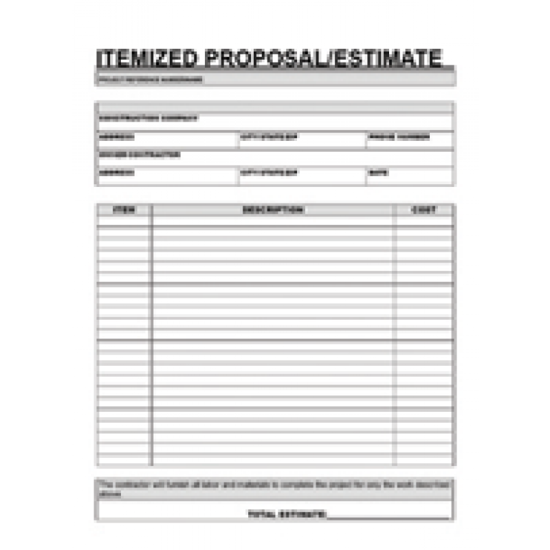Free printable contractor proposal forms home for Itemized proposal template