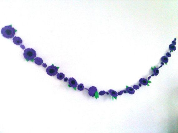 Purple Flower Garland Felt Garland Purple Wedding by heartFeltbyA