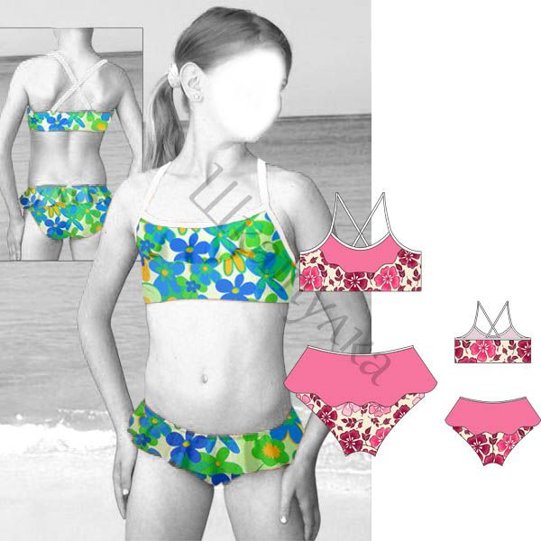 Выкройка купальника-бикини для девочки | patrones | Pinterest ...