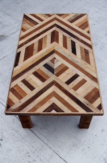 Arielle Alasko uses selvaged flooring to create marquetry style tables, headboards & interiors, She also crafts incredible installations from unusual materials like eucalyptus leaves / http://www.arielealasko.com