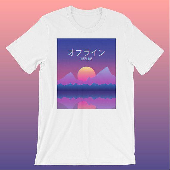 e966d6d115d Aesthetic Sad Boys Sundown Vaporwave  Offline  Short-Sleeve Unisex T-Shirt  with Japanese Kanji Characters