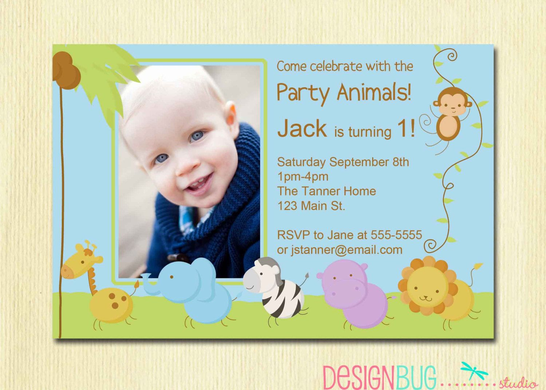 First Birthday Boy Invitation Baby Jungle by DesignBugStudio | B day ...