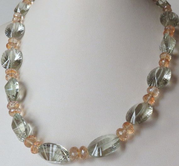 Jewelry Necklace Green Amethyst and Citrine SRAJD by Smokeylady54, $85.00