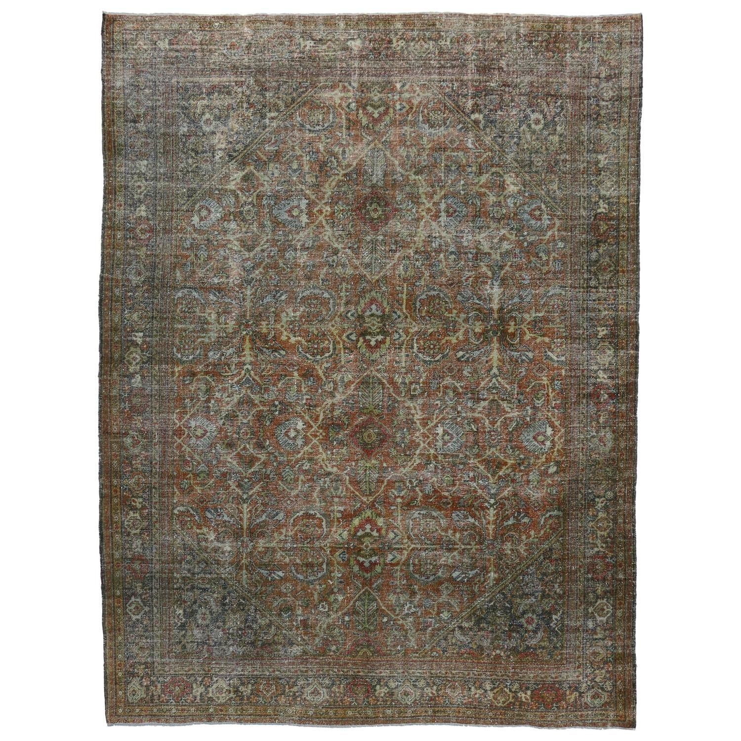 Distressed Antique Persian Mahal Area Rug With Modern Industrial Style Modern Industrial Industrial Style Modern Area Rugs