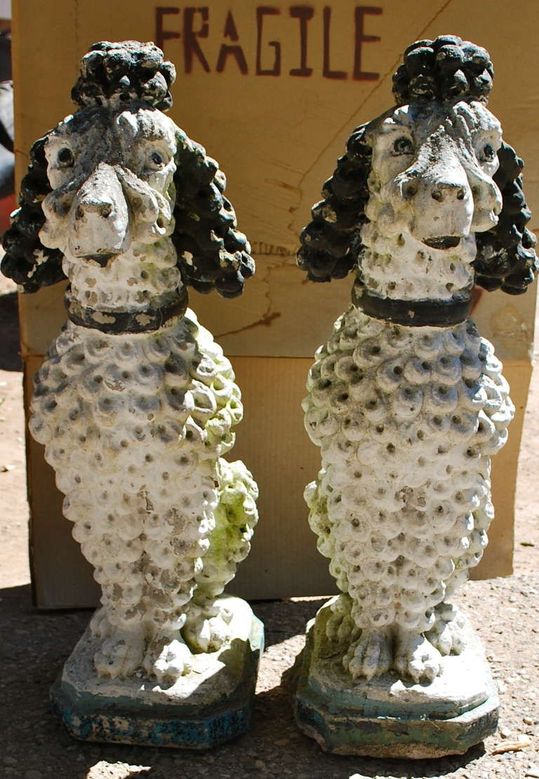1stdibs.com   Great Pair of Early Poodle Sculptures for the Garden