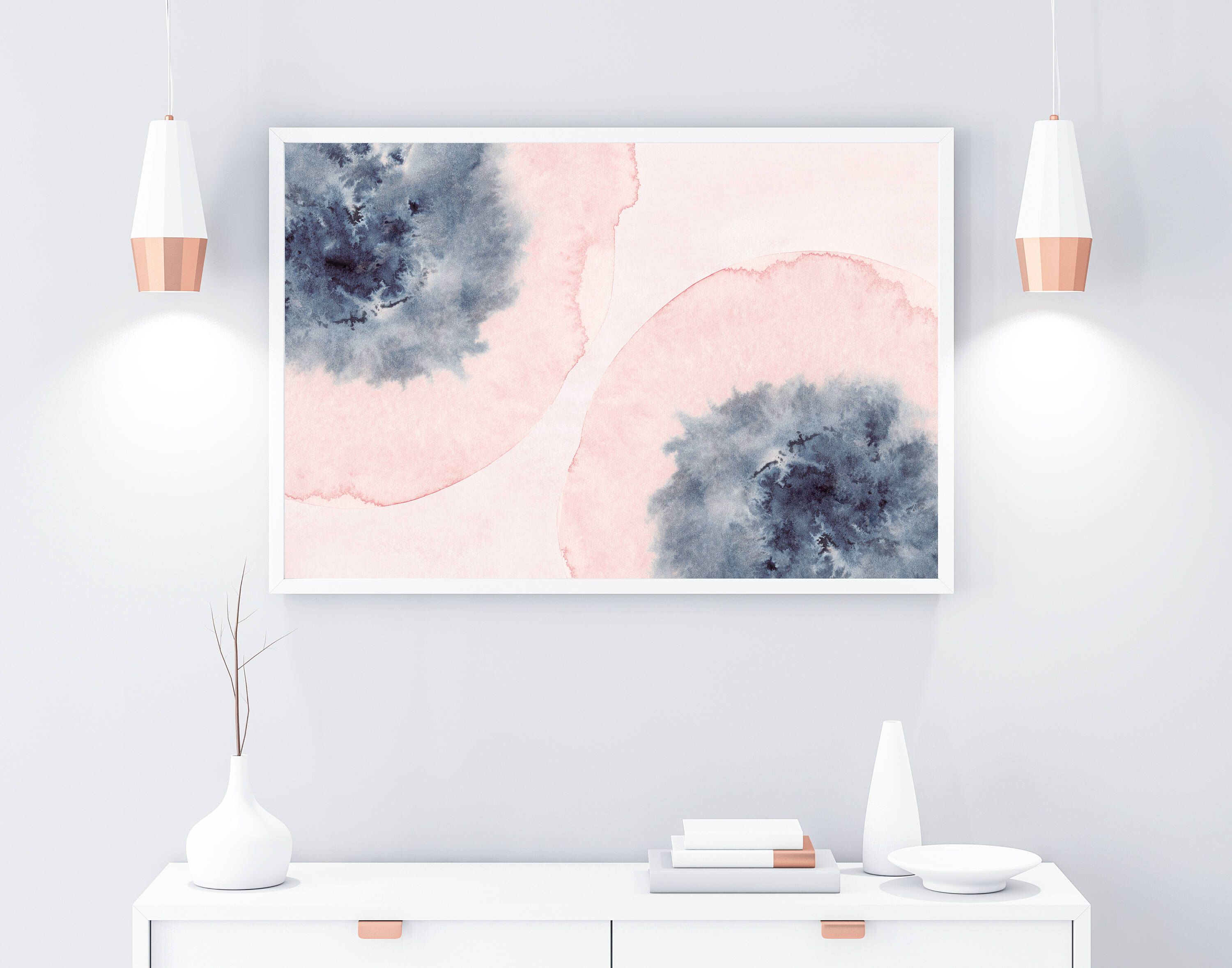Horizontal wall art printable art pink blue wall art blush pink