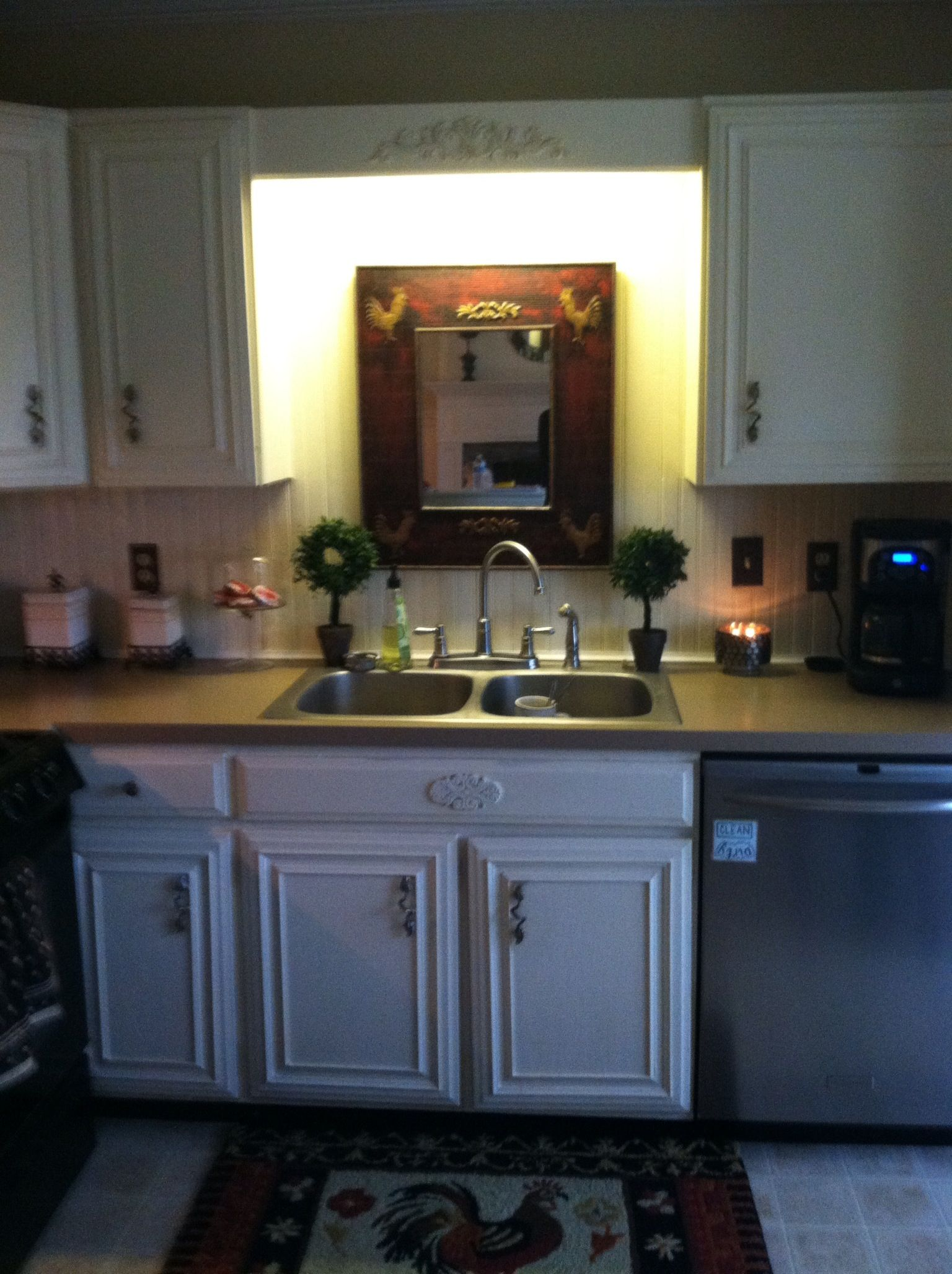 Wainscot backsplash and painted Formica countertop