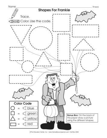 A monstrously fun math worksheet that reviews basic shapes