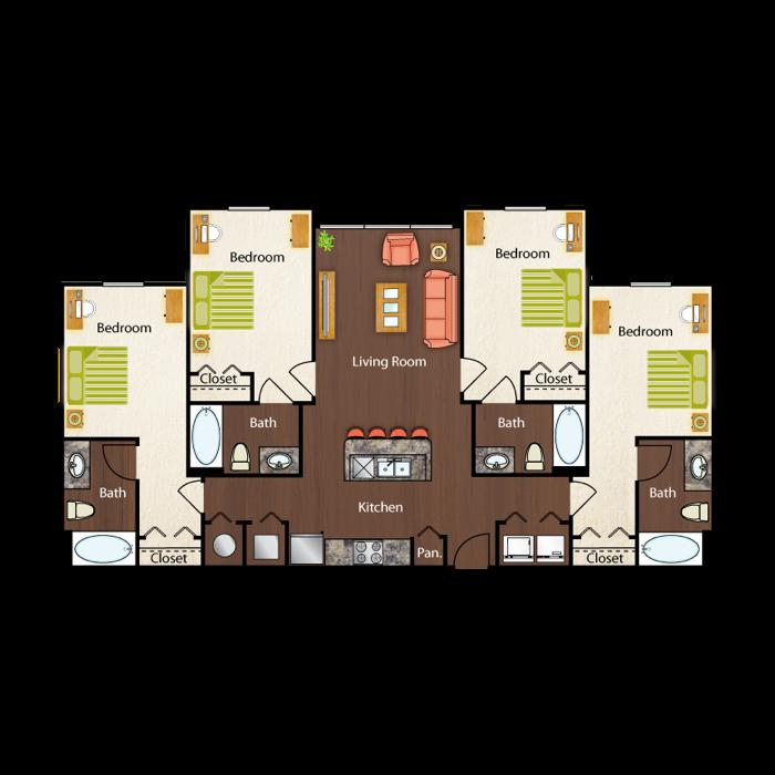 Floorplans Campus Circle Tallahassee, Student Apartments