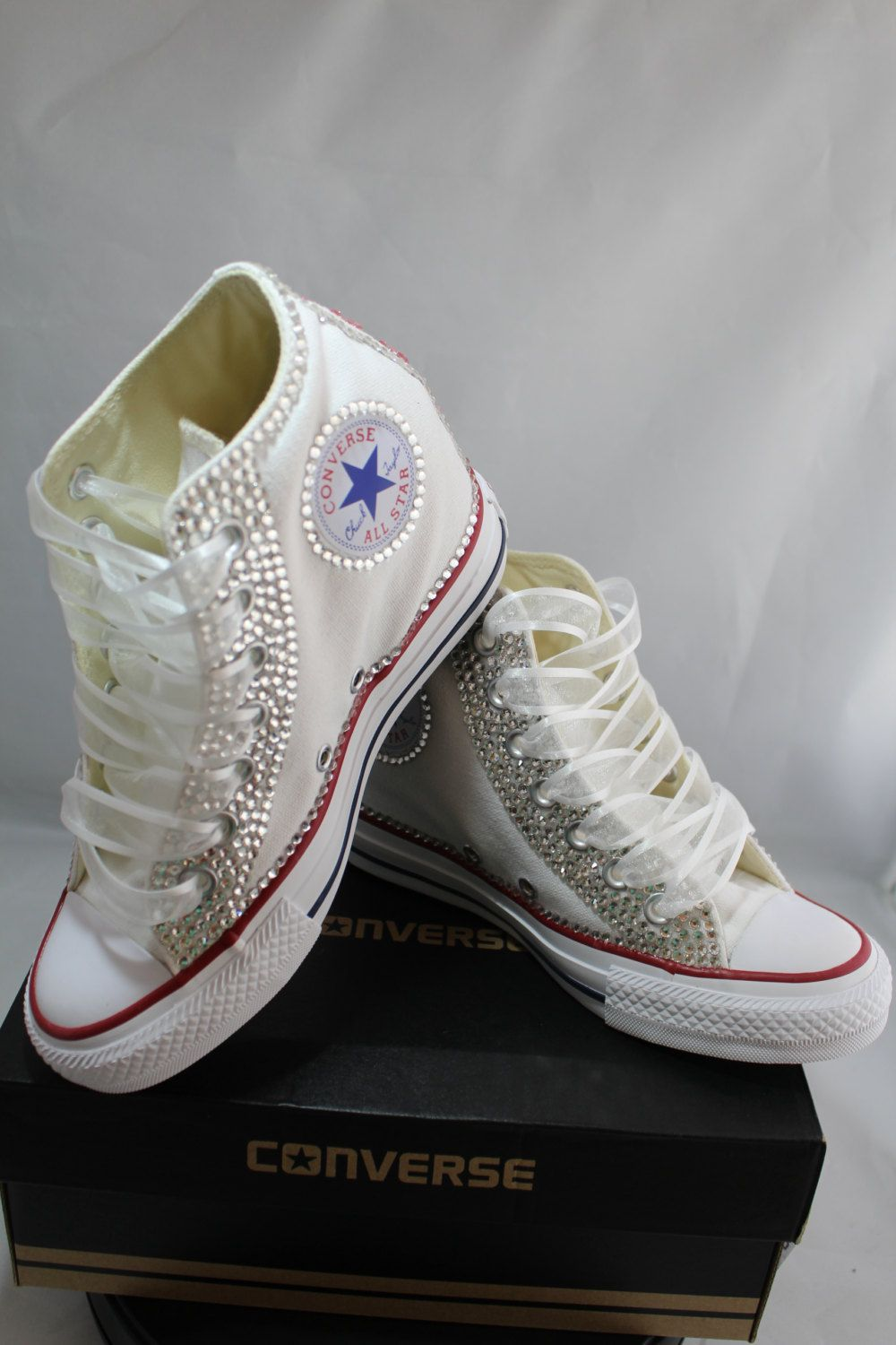 e51fdfad36bd Wedge Bridal Converse- Wedding Converse- Bling   Pearls Custom Converse  Sneakers- Personalized Chuck Taylors- All Star Converse Sneakers by  DivineUnlimited ...
