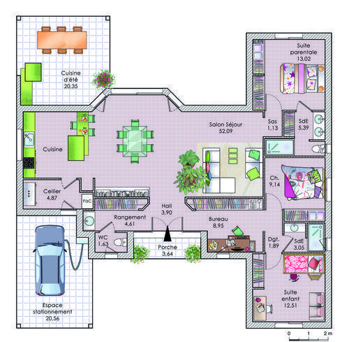 Plan habillé - maison - Une maison à énergie positive maison - logiciel plan de maison