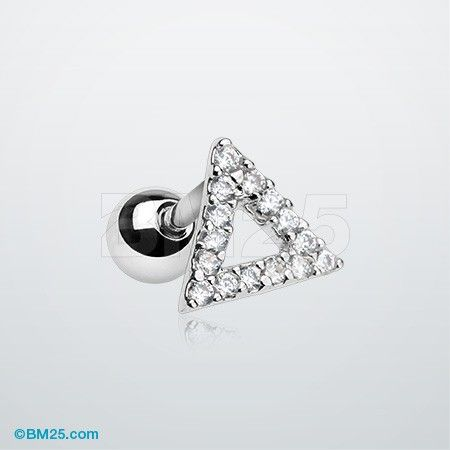 Karma Triangle Sparkle Cartilage Tragus Barbell