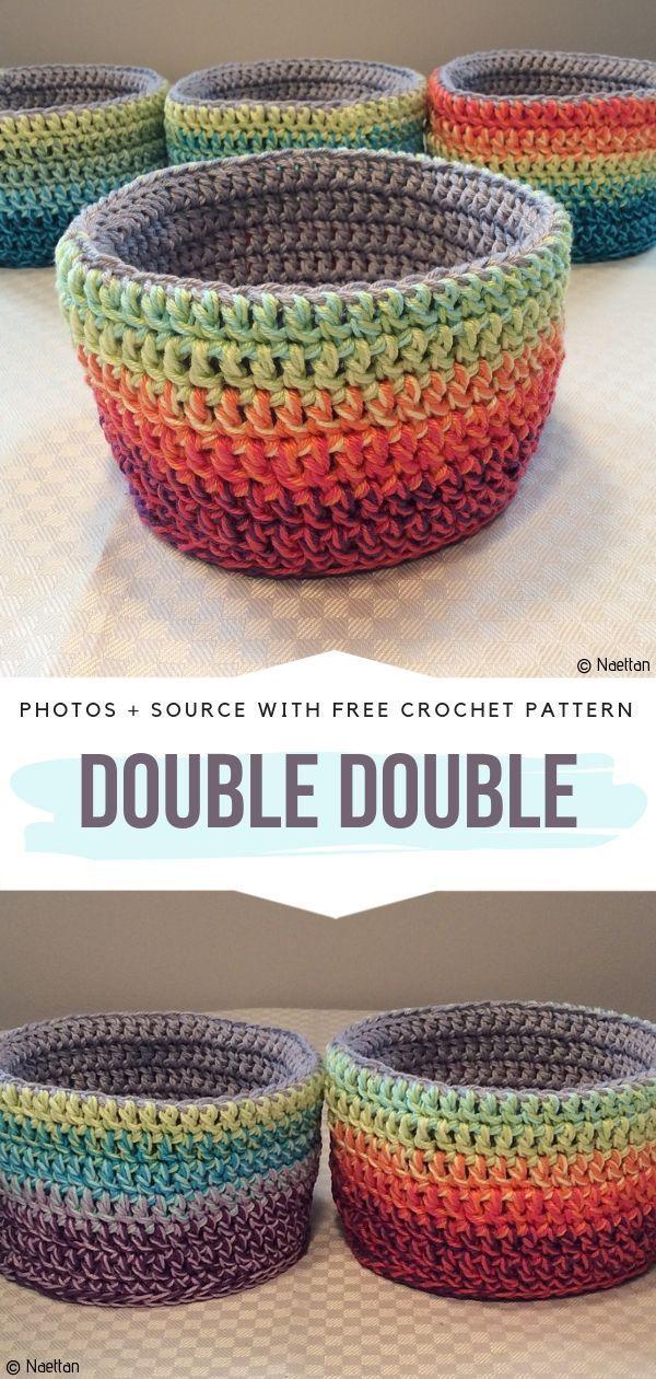 Double Double Free Crochet Pattern #crochetbasket