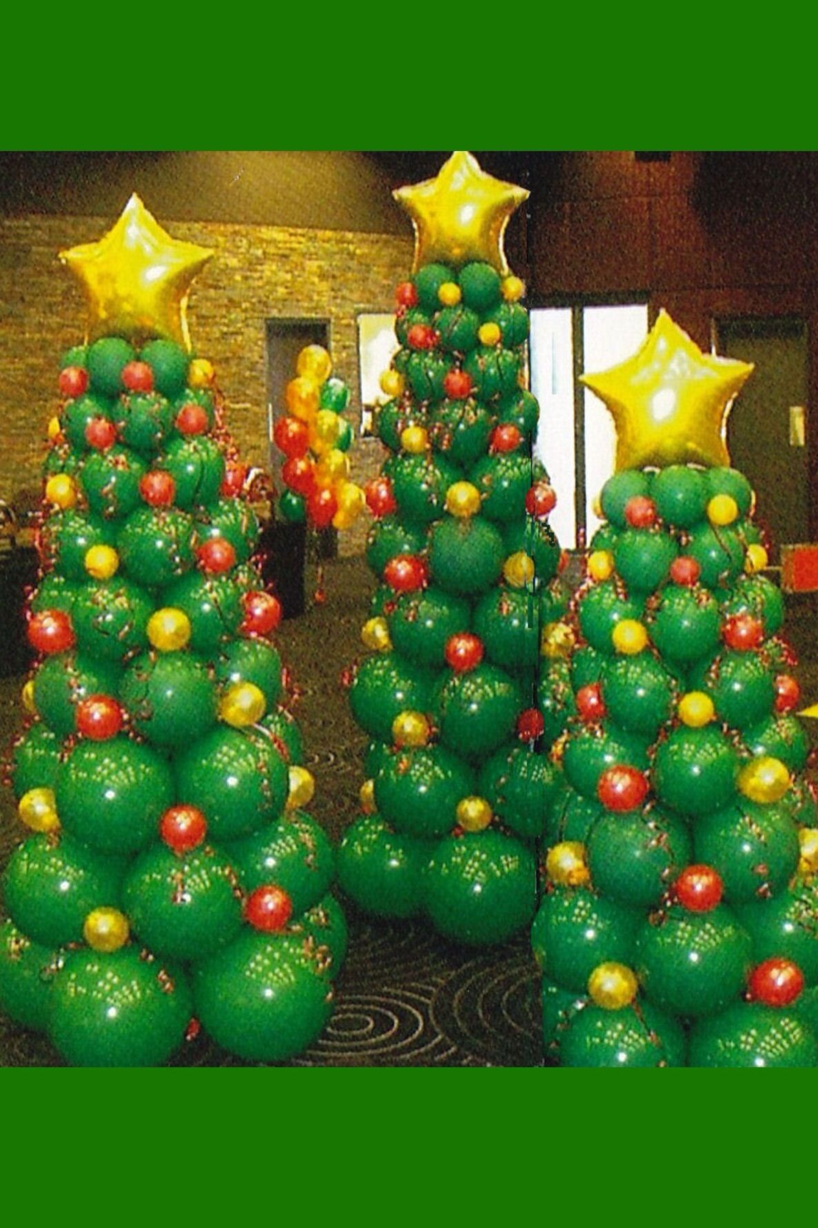 These Awesome Christmas Tree Columns Are Perfect For Holiday Parties Christmas Balloons Christmas Balloon Decorations Holiday Party Decorations