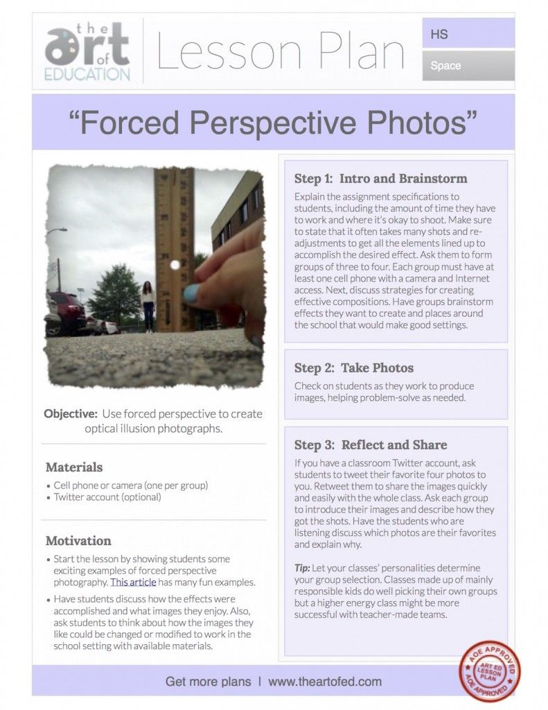 Forced Perspective Photos Free Lesson Plan Download Art Education Lessons Perspective Photos Teach Photography