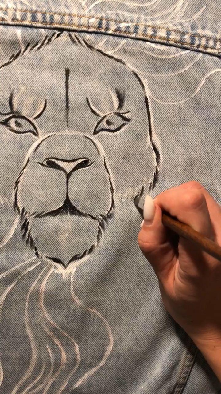 Lion hand Painted custom embellished jacket  #jeanjacketoutfits