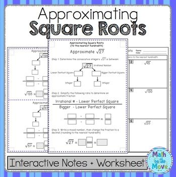 Estimating Square Roots Notes And Practice Pdf And Google Slides Versions Interactive Notes Estimating Square Roots Math Interactive Estimating square root worksheet