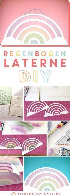 DIY Regenbogen Laterne basteln - bunter Laternenumzug zu St Martin - #basteln #bunter #laterne #laternenumzug #martin #regenbogen - #BastelnEinhorn #laternebasteln