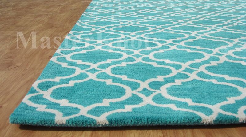 Brand New Riyana Scroll Irish Aqua Green 8x10 Handmade Woolen Area Stunning Rugs By Design Ireland