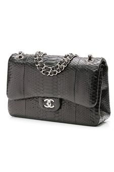 a5bfc357fe59 Chanel Black Python Classic Jumbo Double Flap Bag- Our Price: $6,024.99